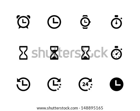 Time and Clock icons on white background. Vector illustration.