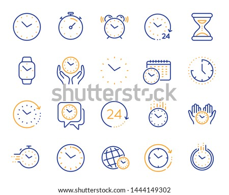 Time and clock line icons. Timer, Alarm and Smartwatch. Time management, 24 hour clock, deadline alarm icons. Sand hourglass, calendar and digital smartwatch, timer stopwatch. Vector