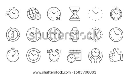 Time and clock line icons. Timer, Alarm and Smartwatch. Time management, 24 hour clock, deadline alarm icons. Sand hourglass, smartwatch, timer stopwatch. Linear set. Quality line set. Vector