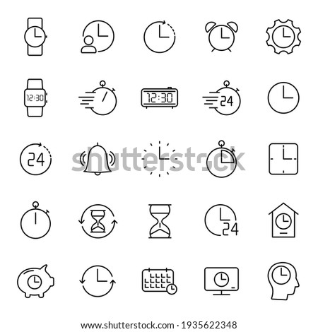 time and clock outline vector icons isolated on white. time and clock icon set for web and ui design, mobile apps and print products