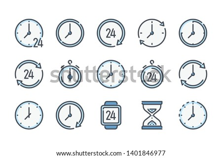 Time and Clock related color line icon set. Hour, Watch and Date furniture colorful linear icons. Time management and Timer color outline vector signs and symbols collection.