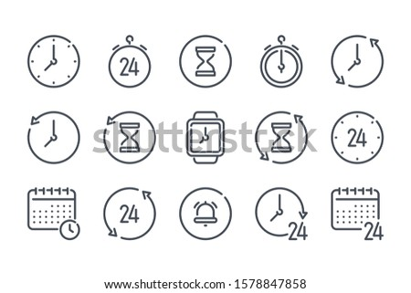 Time and clock related line icon set. Hour, Timer and stopwatch linear icons. Date and calendar schedule outline vector sign collection.