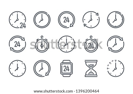 Time and clock related line vector icon set.