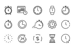 Time and Clock set of linear icons. Time management. Timer, Speed, Alarm, Restore, Time Management, Calendar and more. Collection of time, clock, watch, timer vector simple outline icons for web
