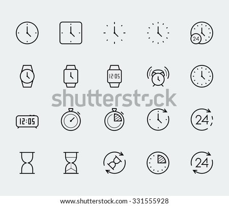Time and clock vector icon set in thin line style