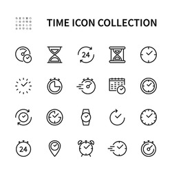 Time and clock vector linear icons set. Time management. Timer, recovery, speed, alarm, calendar,  time management and more. Isolated collection of time for web sites icon on white background.