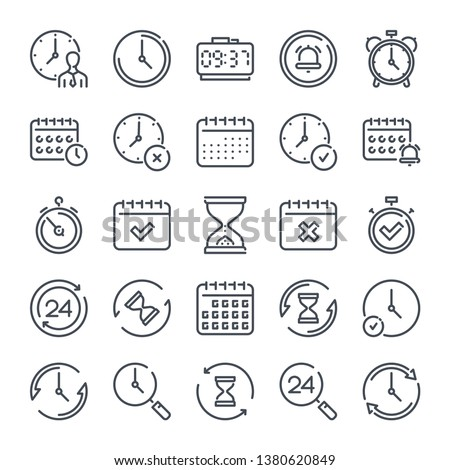 Time and Date related line icon set. Hour and Clock linear icons. Countdown and timer outline vector sign collection.