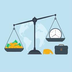 Time and money on scales, business success