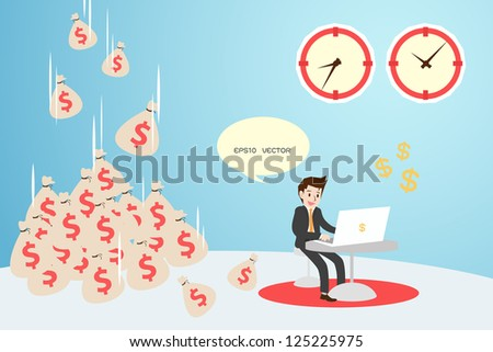 time and money with businessman, vector