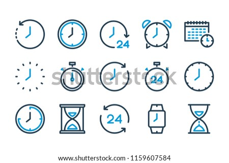 Time and watch related line icon set. Vector illustration.