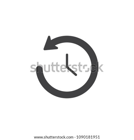 Time back vector icon. filled flat sign for mobile concept and web design. Clock with undo arrow simple solid icon. History symbol, logo illustration. Pixel perfect vector graphics