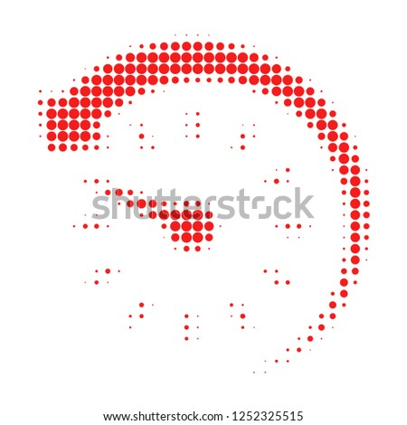 Time backward halftone dotted icon. Halftone pattern contains round points. Vector illustration of time backward icon on a white background.