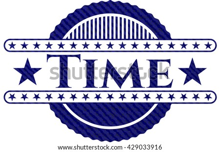 Time badge with jean texture