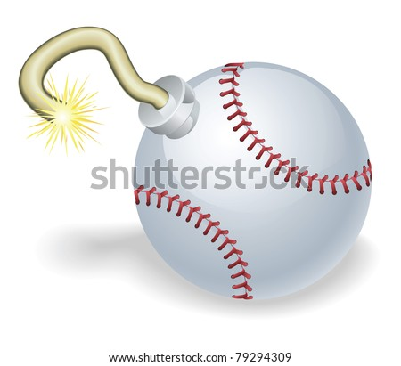 Time bomb in shape of baseball ball concept. Represents countdown to explosive event or baseball crisis