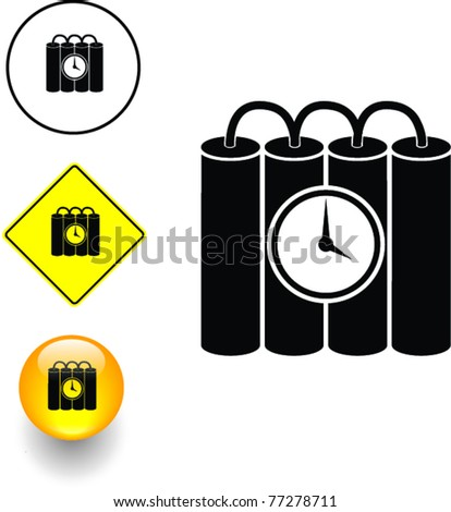 time bomb symbol sign and button