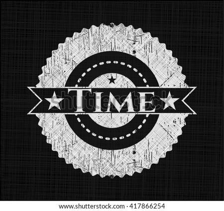 Time chalk emblem written on a blackboard