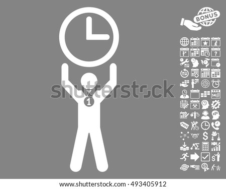 Time Champion pictograph with bonus calendar and time management clip art. Vector illustration style is flat iconic symbols, white color, gray background.