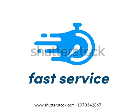 Time clock or stopwatch logo for fast delivery service icon