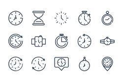 time clock timer hour date linear design set icons vector illustration