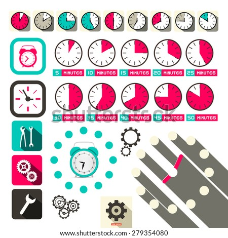 Time - Clock Vector Symbols Set