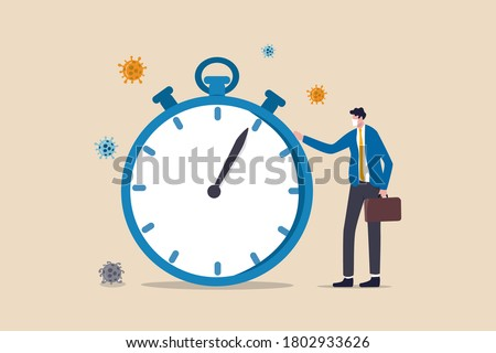Time countdown for coronavirus COVID-19 outbreak to impact global economic and business shut down or quarantine concept, businessman wearing face mask standing with time counting down stop watch. Photo stock ©