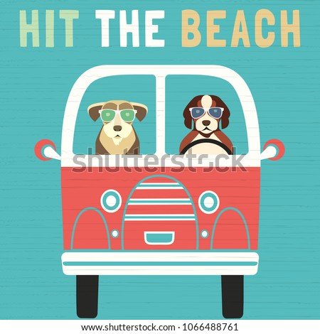 Time for adventure. Cute comic cartoon. Colorful humor retro style. Dogs go by bus to beach for fun leisure relax. Dog days of Summer time vacation journey. Vector tourist banner background template