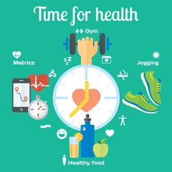 Time for healthy concept flat icons of jogging, gym, food, metrics. Isolated vector illustration and modern design element