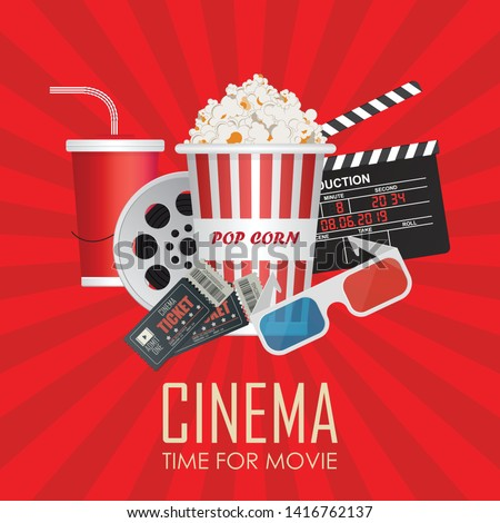 Time for movie poster vector illustration. Movie invitation