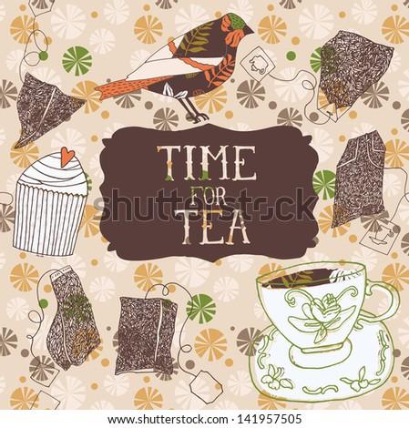 Time for tea print design