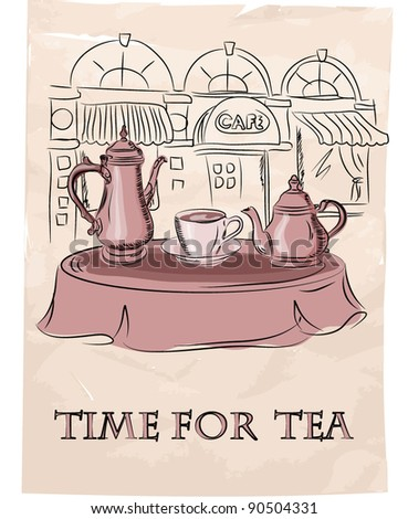 Time for tea,tea Still Life, vector background