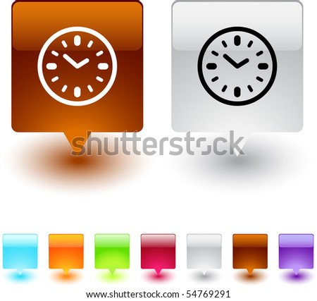 Time glossy square web buttons.