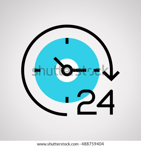 Time icon, Clock vector isolated on white background. 24 hour assistance. 24 hours time icon