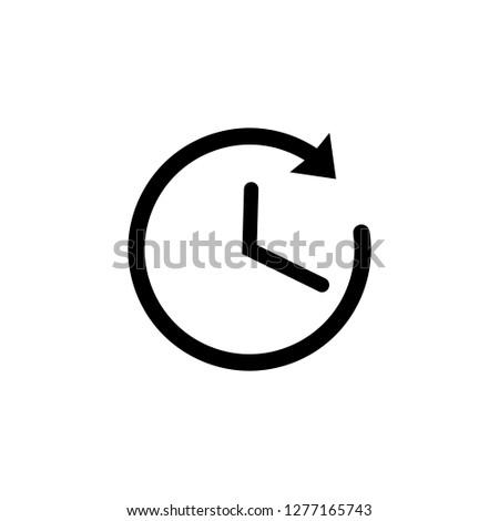 Time icon in black. Clock symbol in flat style. Black clock hands with arrow isolated on white background. Sign of the rapid passage of time. Vector abstract icon for web site design or button to app.