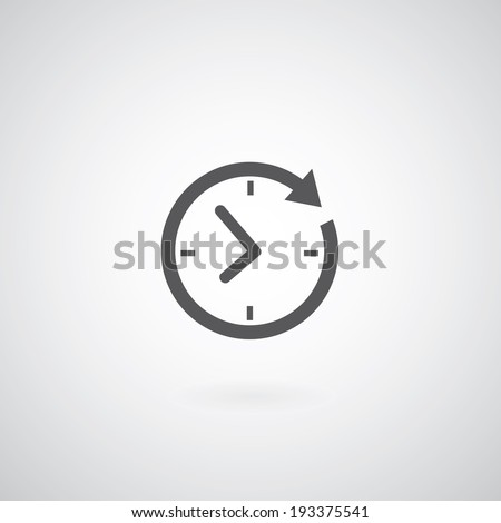 Time icon on gray background