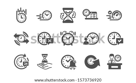 Time icons. Calendar, Time management and Delivery. Hourglass classic icon set. Quality set. Vector