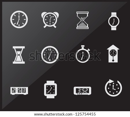 Time icons over black background vector illustration