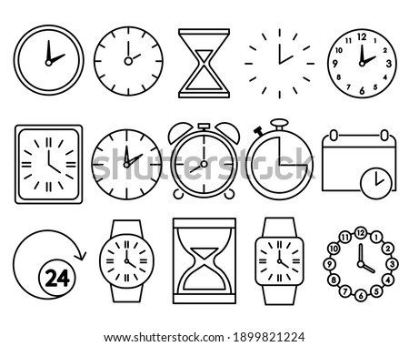 Time icons set. Clock pictogram. Flat symbol for web. Line stroke. Isolated on white background. Vector eps10