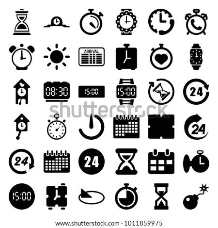 time icons set of 36 editable