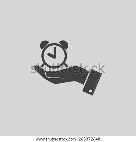 Time in the hand vector icon