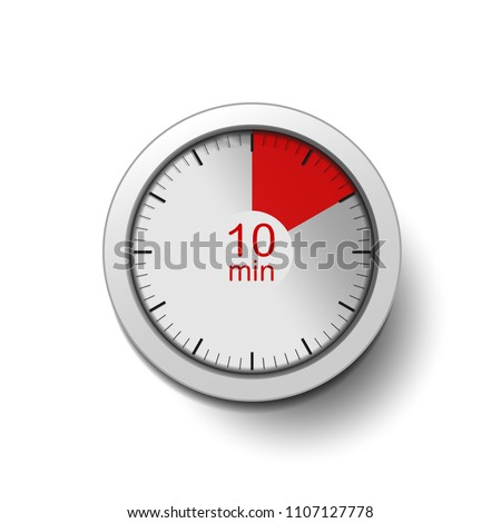 Time interval of 10 minutes, isolated on a white background, with good detail in the form of shadows and a time interval (red color) vector illustration. 10-minute break, coffee break