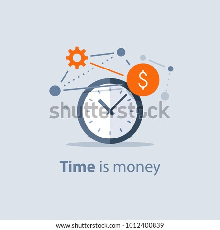 Time is money concept, long term investment, financial future planning, pension savings fund, finance solutions, payment deadline, time management, vector icon, flat design illustration