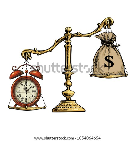 Time is money concept. Sack of dollars and  old alarm clock balance on the scale. Retro stile sketch vector illustration isolated on white background.Time is more precious than money.
