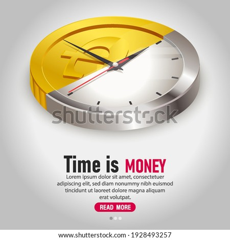 Time is money concept vector illustration.Half clock and silver coin concept.