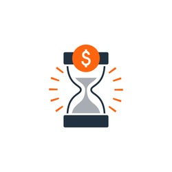Time is money, finance concept, bank savings account, insurance and pension idea. Flat design vector illustration. Finance theme concept