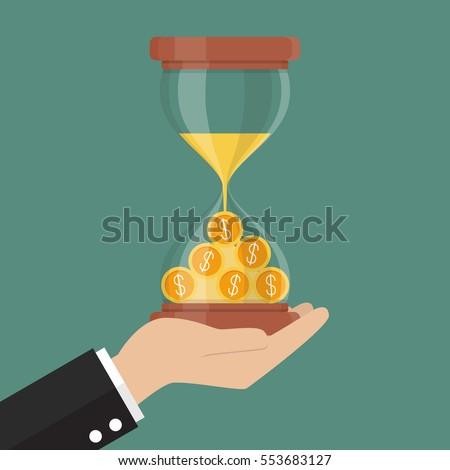 Time is money. Money in sandglass