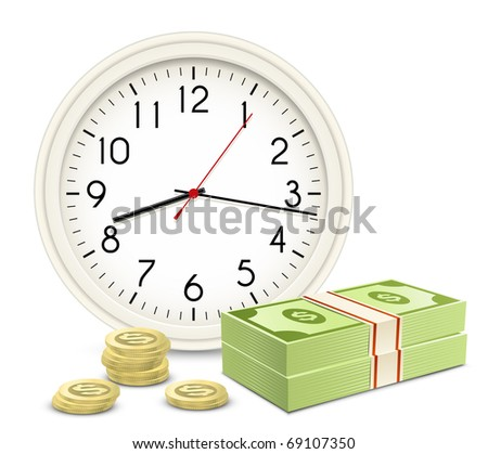 Time is money. Office Clock and Money. Banknotes and coins.