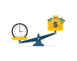 Time is money on scales icon. Money and time balance on scale. Vector illustration.