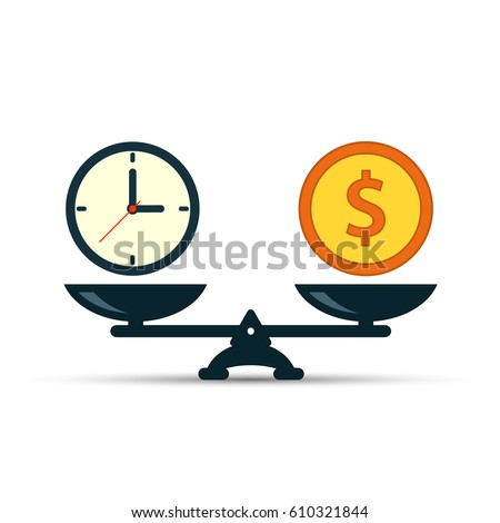 Time is money on scales icon. Money and time balance on scale. Weights with clock and money coin. Vector illustration.
