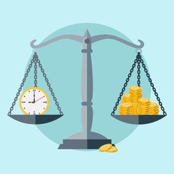 Time is money, scale balance vector concept