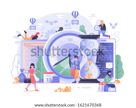 Time is money scene with office people developing business strategy application. Work timing management illustration with web developers team, calendar and clocks. Save your time concept.